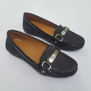 "Coach ""Felisha"" Signature black jacquard loafers"